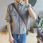夏季新品男士翻領短袖襯衫正版寬鬆雙口袋男襯衫潮 限時八五折 鉅惠兩天