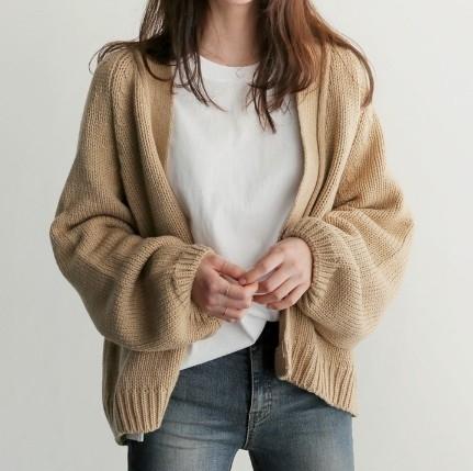 EASON SHOP(GU8725)簡約粗毛線純色寬袖連肩袖開襟針織外套 罩衫 寬鬆 OVERSIZE 長版 黑色