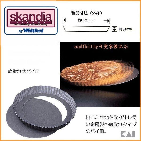 asdfkitty可愛家☆貝印DL-6152不沾圓型烤派餅盤-21公分-活動分離脫模-日本製