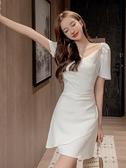 短袖洋裝 夏季新款裙子v領休閒高腰修身顯瘦小個子黑色夏天洋裝女 - 古梵希