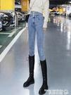 窄管褲 淺色牛仔褲女2021年新款冬高腰顯瘦春裝女士緊身鉛筆小腳褲子 曼慕