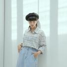 Queen Shop【01024269】微透感格紋棉麻排釦襯衫*現+預*