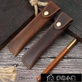 皮質筆袋 原創筆袋真皮復古手工純色牛皮按塔扣鋼筆筆套個性印花創意保護套