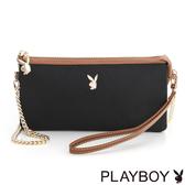 PLAYBOY- 鍊帶萬用小包 Hipster Girl 質感玩家系列-個性黑
