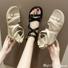 涼鞋 一字帶涼鞋2021年新款女夏天百搭學生仙女風平底鞋ins潮羅馬鞋子 618購物節