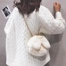 鍊條包 可愛兔耳朵毛絨包包女2021春新款少女鏈條包百搭毛毛單肩斜挎包【快速出貨八折搶購】