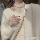 熱賣蕾絲打底衫 定制仙女網紗長袖上衣很仙的高領蕾絲打底衫女秋冬洋氣內搭【618 狂歡】