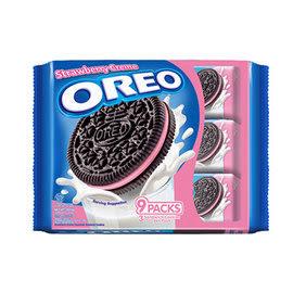 OREO奧利奧草莓夾心三明治餅乾隨手包(29.4g*9包)/2組【合迷雅好物超級商城】