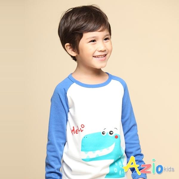 Azio 男童 上衣 打招呼恐龍印花配色棒球長袖上衣T恤(藍) Azio Kids 美國派 童裝