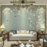 新中式壁紙電視背景墻壁紙花鳥墻紙臥室客廳3d無縫墻布影視墻壁畫『摩登大道』