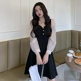 大碼胖mm顯瘦減齡洋裝洋氣收腰遮肉赫本風法式小黑裙氣質A字裙 【年貨大集Sale】