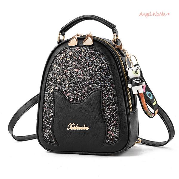 全館限時滿399超商免運費~後背包。可愛貓咪亮片閃亮雙層迷你後背包女包包 (SBA0355) AngelNaNa