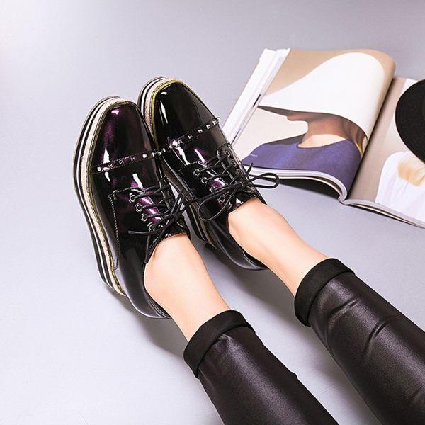 2017春新款單鞋學院風尖頭厚底坡跟單鞋女厚底增高鞋系帶松糕鞋   -1092492002