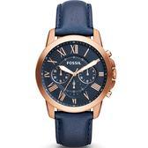 【台南 時代鐘錶 FOSSIL】FS4835IE 極致品味 羅馬時標三眼計時腕錶 皮帶 深藍/玫瑰金 44mm