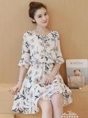 春夏天韓版流行氣質小個子顯瘦碎花雪紡洋裝子女中長款『夢娜麗莎』