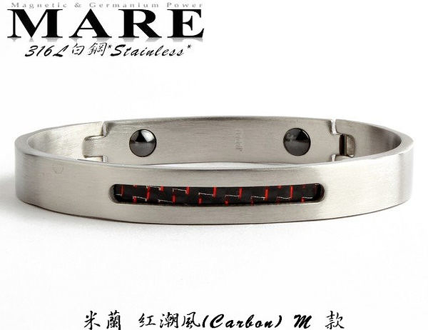 【MARE-316L白鋼】系列:米蘭 紅潮風(Carbon)M 款