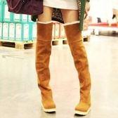 高筒雪靴-時尚流行過膝翻邊女平底靴子4色73kg2[巴黎精品]