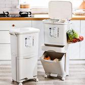 日式家用垃圾桶廚房客廳創意臥室大號雙層三層帶蓋幹濕分類垃圾桶 韓語空間