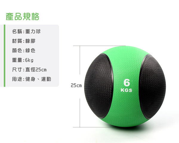 〔6KG/黑款〕橡膠重力球/健身球/重量球/藥球/實心球/平衡訓練球