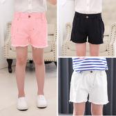 女童短褲外穿夏季薄款小女孩牛仔褲寬鬆童裝兒童褲子夏裝破洞熱褲刷破牛仔褲三角衣櫥