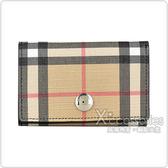 BURBERRY Vintage Check格紋LOGO帆布6卡雙扣式短夾(黑)