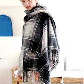 羊毛披肩-英倫格子流蘇加厚女圍巾4色73wq10【時尚巴黎】
