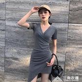 夏法式小眾緊身性感連身裙收腰顯瘦V領修身包臀裙小心機裙子氣質 新年钜惠