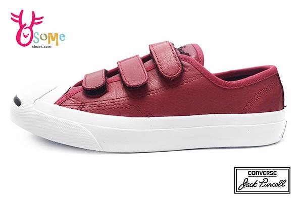 Converse帆布鞋 中童款 Jack Purcell 3V系列 開口笑 魔鬼氈帆布鞋H9873#紅色◆OSOME奧森鞋業