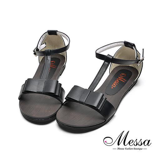 【Messa米莎專櫃女鞋】MIT繫踝蝴蝶結造型內真皮平底涼鞋-黑色