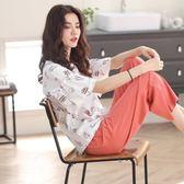 夏季睡衣女純棉短袖七分褲套裝韓版寬鬆清新學生兩件套家居服薄款   mandyc衣間