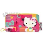 〔小禮堂〕Hello Kitty 尼龍刺繡拉鍊長夾《桃綠.幾何》皮包.皮夾.錢包 0840805-13278