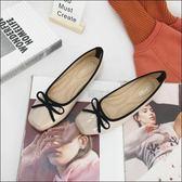 六月芬蘭方頭芭蕾舞漆皮質感絨布蝴蝶結舒適軟墊娃娃鞋包鞋平底鞋孕婦鞋女鞋米色(35-41)現貨