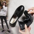 冬季軟底女鞋新款百搭黑色小皮鞋女平底軟皮鞋子英倫工作單鞋全館免運