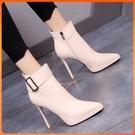 高跟短靴 高跟鞋女神范尖頭防水臺細跟短靴氣質2021秋冬新款女靴子小眾設計 韓國時尚週