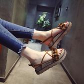 鬆糕厚底涼鞋 時尚一字扣帶羅馬涼鞋【多多鞋包店】z7832