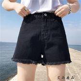 韓版高腰百搭闊腿直筒褲短褲