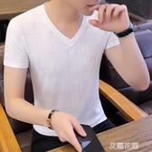 男士短袖t恤冰絲V領潮流夏季新款半袖體恤男裝韓版青年修身上衣服『艾麗花園』