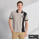 【JEEP】直條撞色拼接短袖POLO衫(灰色)