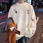 毛衣男 子俊男裝秋季線衣卡通毛衣ins慵懶風長袖上衣內搭針織衫 雙十二