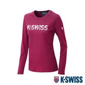 K-SWISS Cotton KS Logo Tee 1印花長袖T恤-女-深紅