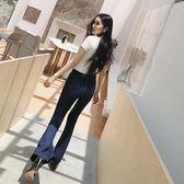 打摺牛仔褲           高腰喇叭褲女緊身牛仔藍垂感時尚深藍色長褲 igo 宜室家居