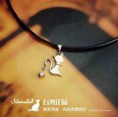 【銀色思維】可愛搖尾鑽純銀貓咪項鍊