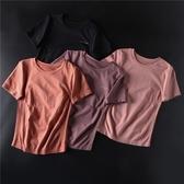 運動上衣女彈力緊身短袖速干衣顯瘦訓練跑步半袖健身房T恤瑜伽服