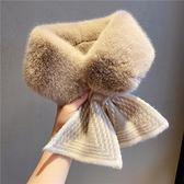 圍巾女秋冬季針織新款韓版潮加厚保暖毛毛絨圍脖毛線交叉毛領子女 嬡孕哺