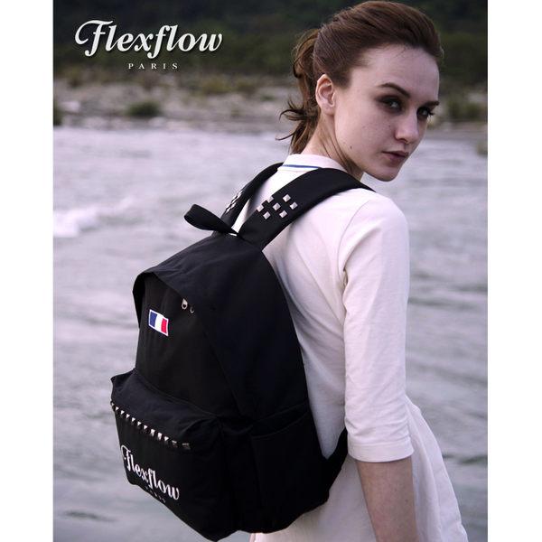 Flexflow-龐畢度系列法式復古刺繡鉚釘背包-黑色
