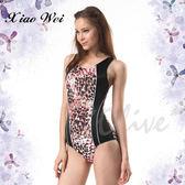 ☆小薇的店☆MIT沙兒斯品牌亮彩豹紋流線款時尚三角連身泳裝特價690元 NO.B91612(L-3L)