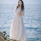 洋裝-波西米亞風鏤空蕾絲袖V領女連身裙73mw16【巴黎精品】