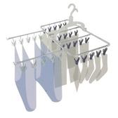 日本AISEN鋁合金6段式30夾曬衣架(粉藍曬夾)