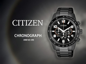 【時間道】CITIZEN 星辰 限量運動風三眼計時腕錶/全黑鋼帶(AN8165-59E)免運費