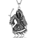 《QBOX 》FASHION 飾品【CHE243】精緻個性歐美死神鐮刀骷髏頭鑄造鈦鋼墬子項鍊/掛飾